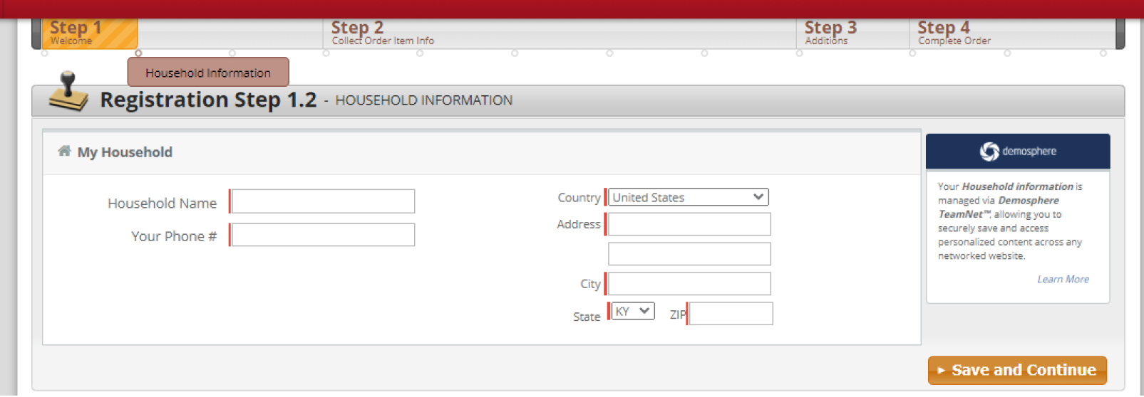 Image showing how to create your household information in Demosphere. Household name and Phone number are to the left with country, address, city, state and zip to the right.