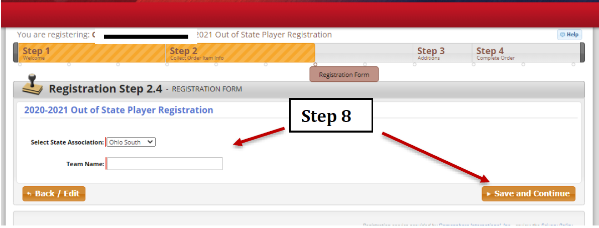 Image showing to select state association from drop down bar followed by writing in the team name and clicking on Save and Continue.